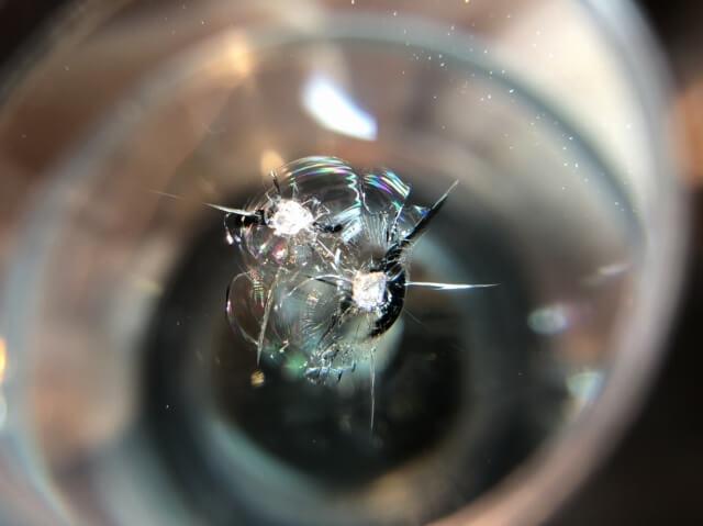 常陸大宮市 フロントガラスのヒビ割れ修理前